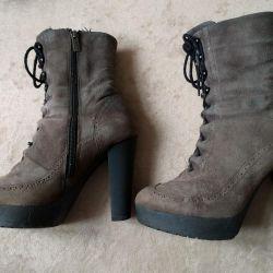 Bocanci din piele de iarnă din piele de căprioară / pantofi de căptușeală p.36,5