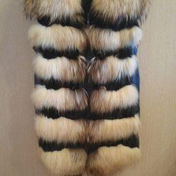 Γιλέκο γούνας με δερμάτινα ένθετα (fur nat.)