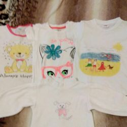 T-shirts for girls for 2-4 years.