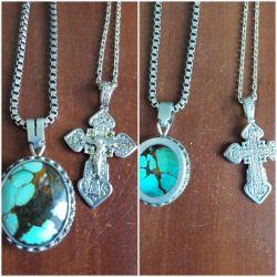 Silver 925 pendant turquoise vintage, cross