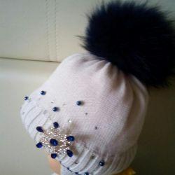 Зимняя шапка с натуральным мехом р,50-52