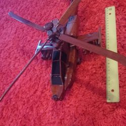 Wooden helicopter 40cm new