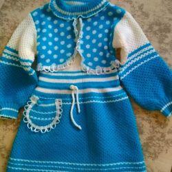 Платье вязаное для девочки 2-4 лет