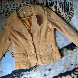 Замшевый жeлтый пиджак жакет Wilsons Leather