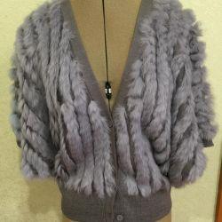 Gray fur vest kimono knitted
