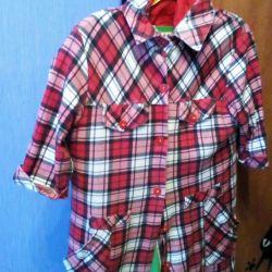 Рубашка туника клетка белая.красная.черная