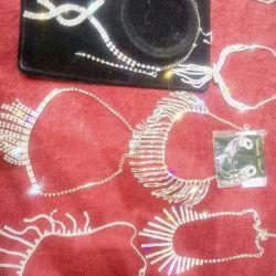 Necklace, earrings, Swarovski bracelet