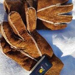Mănuși, blană naturală de oaie.