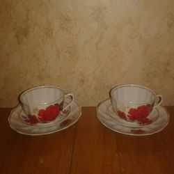 Tea and coffee cups and saucers.