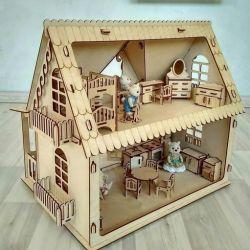 Ahşap Ülke Ülke Dollhouse