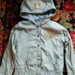 Windbreaker for girl 4-5 years blue on fleece