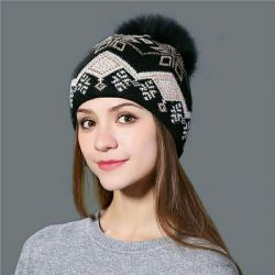 Καπέλο πλεκτό γυναικείο με ένα θυμάρι γούνινο