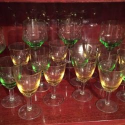 Tall wine-glasses from color crystal