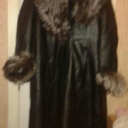 Natural leather fur coat