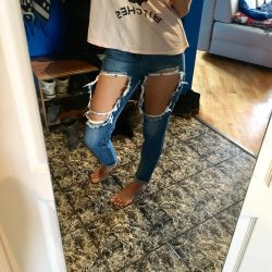New boyfriend jeans with holes 10UK (42-44)