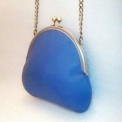 Bag light blue (powder blue) leather