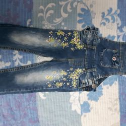 Jeans overalls with rhinestones and embroidery for