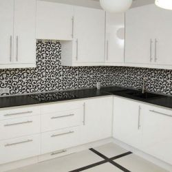 Kitchen White with Black Worktop