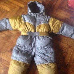 Winter children's full jumpsuit.