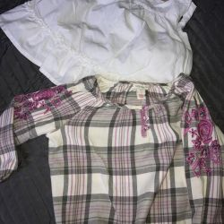 White summer top-shirt and shirt for 4-5 years