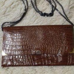 Βραδινή τσάντα από γνήσιο δερμάτινο κροκόδειλο