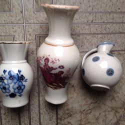 Three old vases made in the USSR