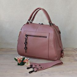 New bag made of genuine leather color powder rose