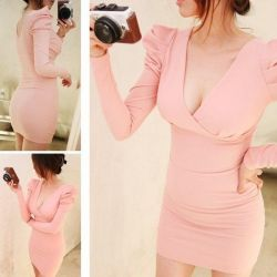 New pink dress with long sleeves