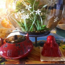 A tea set. Teapot + Buddha
