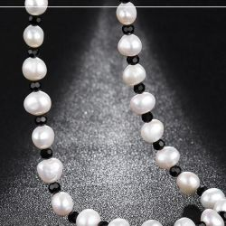 Beads from pearls with Swarovski crystals