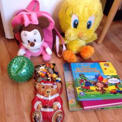 Package of toys and books