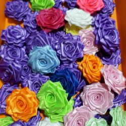 Handmade roses from satin ribbons