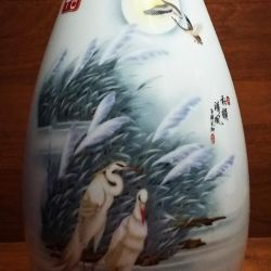 Çin Porselen Vazo Beyaz Vinçler
