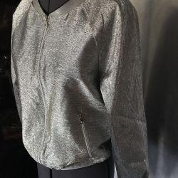 Women's bomber jacket, 46 p. USA, new, silver