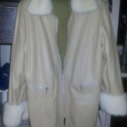 Leather jacket with mink collar and cuffs