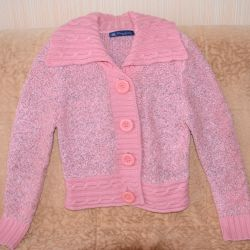 Ροζ ζεστό μπουφάν με κουμπιά,