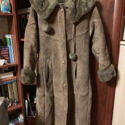 Koyun derisi ceket erkek bir kukuleta ile