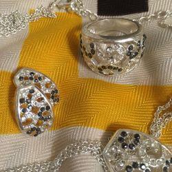 Set (ring + earrings + pendant + chain)