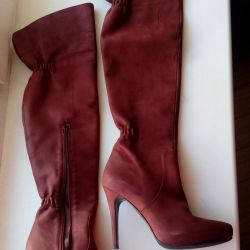 Suede boots, natur. Leather, Turkey, New, p. 37