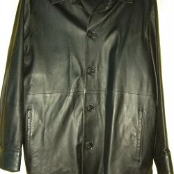 A leather jacket is a jacket. Male. Black color
