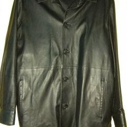 Кожаная куртка- пиджак. Мужской. Черный цвет