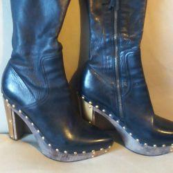Κομψές μπότες, γνήσιο δέρμα