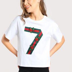 Nakışlı ve Gucci desenli Bayan Tişört