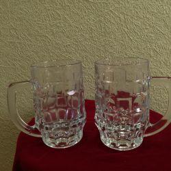 Kristal bira için 2 bardak
