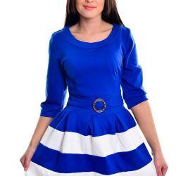 Elbise mavi-beyaz