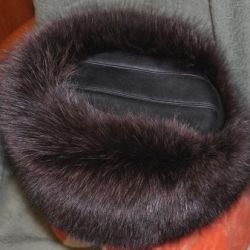 Шапка песец с кожанным верхом 59р