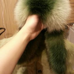 Fur coat with a hat