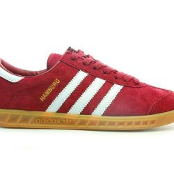 Adidas Hamburg suede burgundy with white