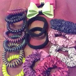 Elastics, hair clips, headbands