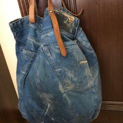 Джинсовая сумка мешок